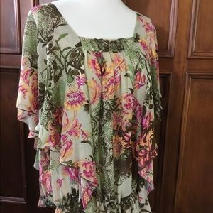 Dress barn women's gorgeous floral and tanSz 14/16